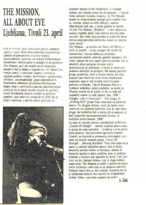 MISSION Liv ein Ljubljana 1988