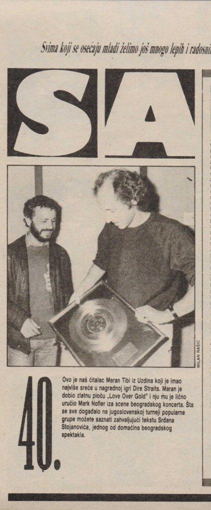 DIRE STRAITS YUGOSLAVIA 1985 dodela zlatne ploce