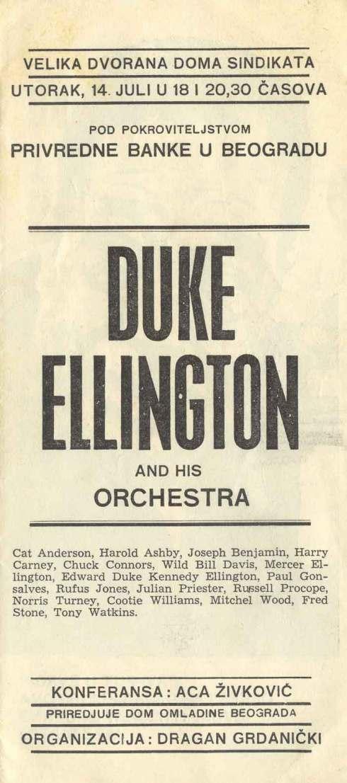 DUKE ELLINGTON Beograd 1971 plakat