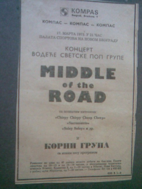 MIDDLE OF THE ROAD Beograd 1973 plakat