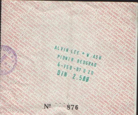 ALVIN LEE & WISHBONE ASH Beograd 1987 karta