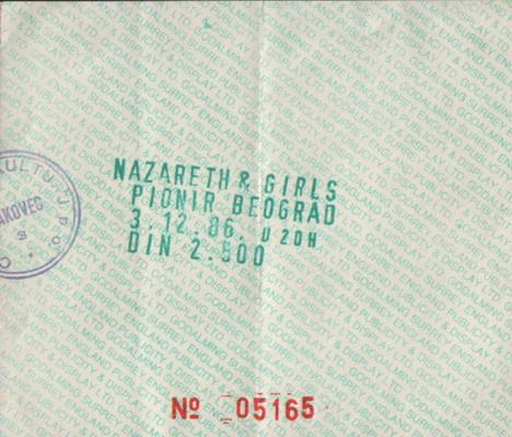 NAZARETH & GIRLS Beograd 1986 karta