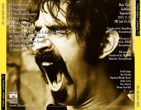 Frank Zappa Ljubljana  1975 BACK