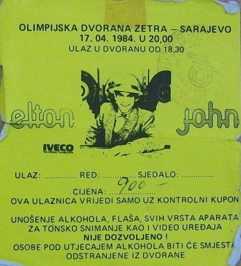 ELTON JOHN Sarajevo, Olimpijska Dvorana Zetra 1984 04 17