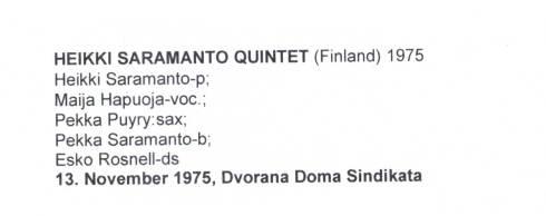 HEIKKI SARAMANTO Quintet Beograd 1975