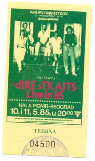 DIRE STRAITS Beograd 1985 karta tribine