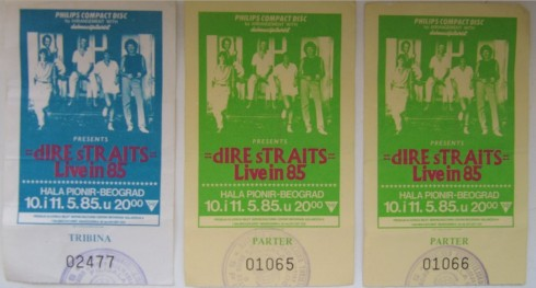 DIRE STRAITS Beograd 1985 karte
