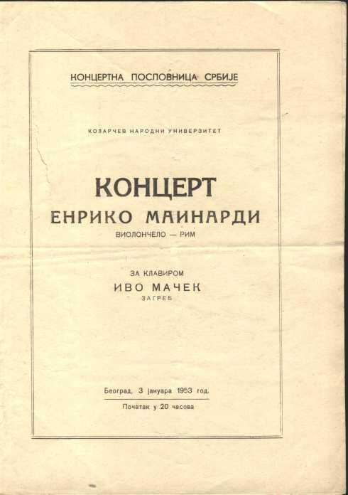 ENRICO MAINARDI Beograd 19531