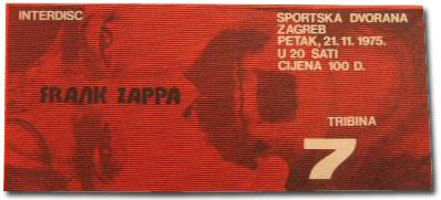 Frank Zappa Ticket Zagreb 1975