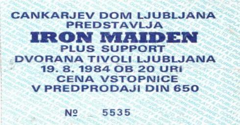 IRON MAIDEN Ljubljana 1984 vstopnica