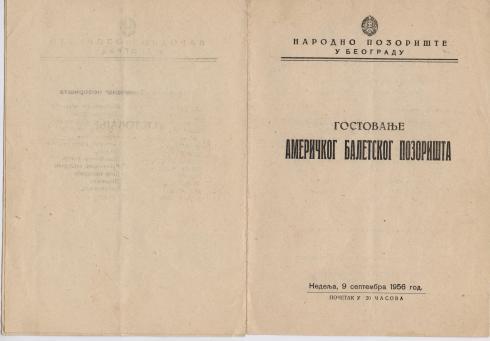 flajer AMERICKO BALETSKO POZORISTE Beograd 1956 1