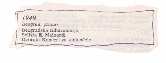 ENRICO MAINARDI Beograd 1949