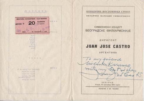 JUAN JOSE CASTRO Beograd 1955 1