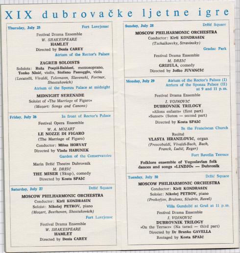 Kiryl Kondrashin and MOSCOW PHILHARMONY ORCHESTRA Dubrovnik 1968