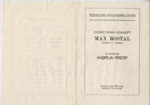 MAX ROSTAL Beograd 5 mart 1956 1