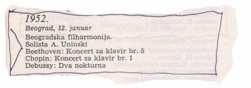 ALEXANDER UNINSKY Beograd 1952