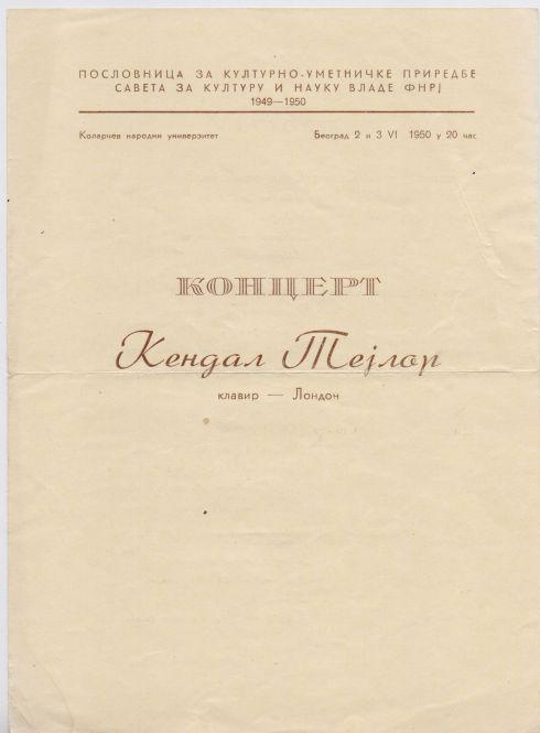 EDGAR KENDALL TAYLOR Beograd 1950 1