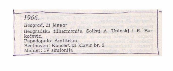 ALEXANDER UNINSKY Beograd 1966