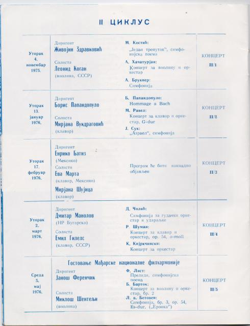 Program BEOGRADSKA FILHARMONIJA 1975_1976 4