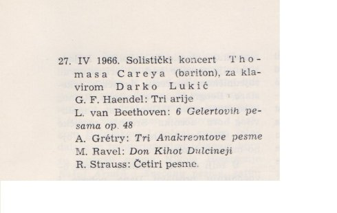 THOMAS CAREY Maribor 1966