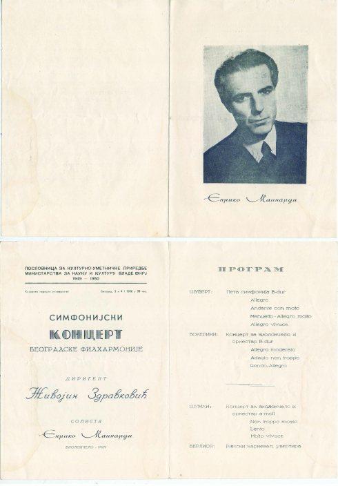 ENRICO MAINARDI Beograd 3 i 4 jan 1950